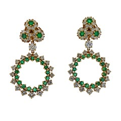 1980s Diamond Emerald Gold Drop Earrings