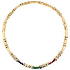 1980s Diamond Emerald Ruby Sapphire 18 Karat Yellow Gold Vintage Necklace
