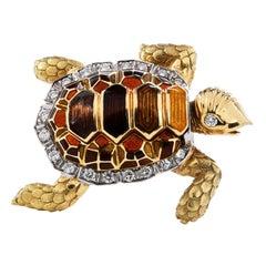 1980's Diamond Enamel 18k Gold Turtle Brooch Pin