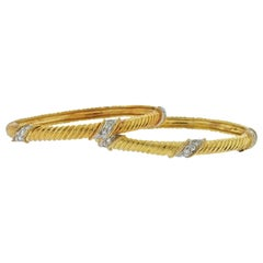 1980s Diamond Gold Bangle Bracelet Set