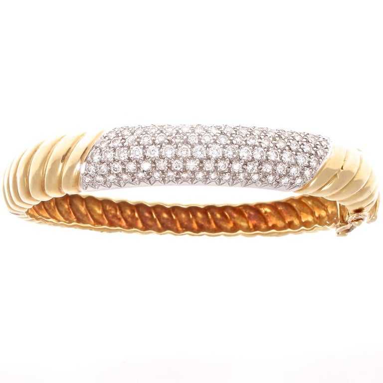 1980s Diamond Gold Platinum Bangle Bracelet
