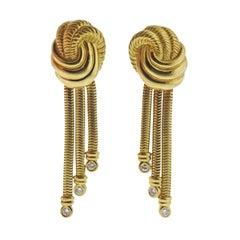 1980s Diamond Gold Tassel Drop Earrings