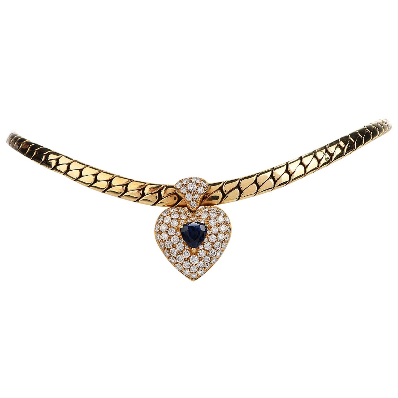 1980s Diamond Heart Blue Sapphire Pendant Heavy 18 Karat Gold Link Necklace