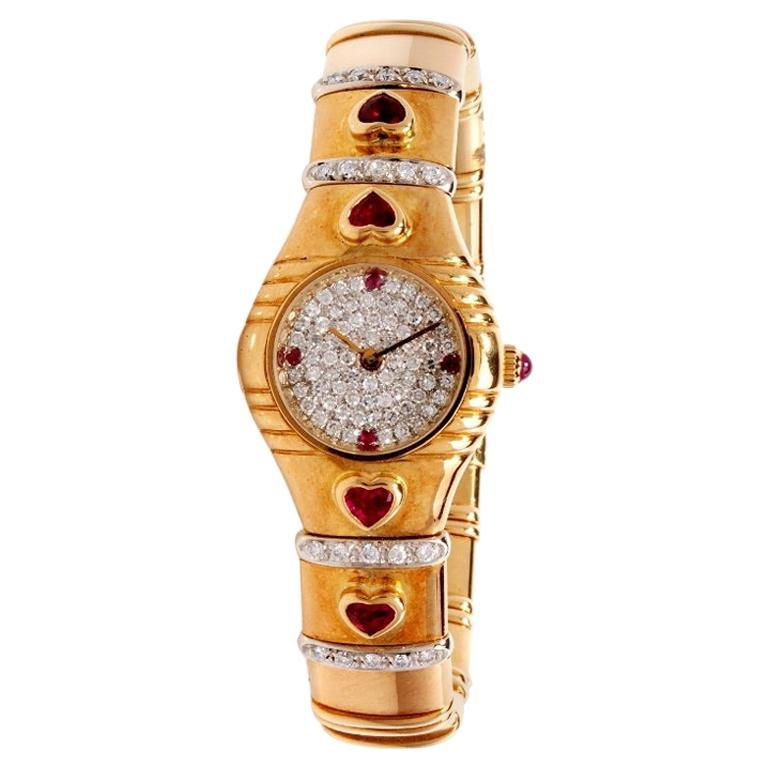 1980s Diamond Heart Ruby 18 Karat Yellow Gold Ladies Watch