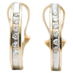 1980s Diamond Hoop Two-Tone 14 Karat Gold Earrings