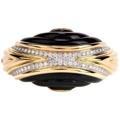 1980s Diamond Onyx 18 Karat Gold Large Wide Bangle Bracelet
