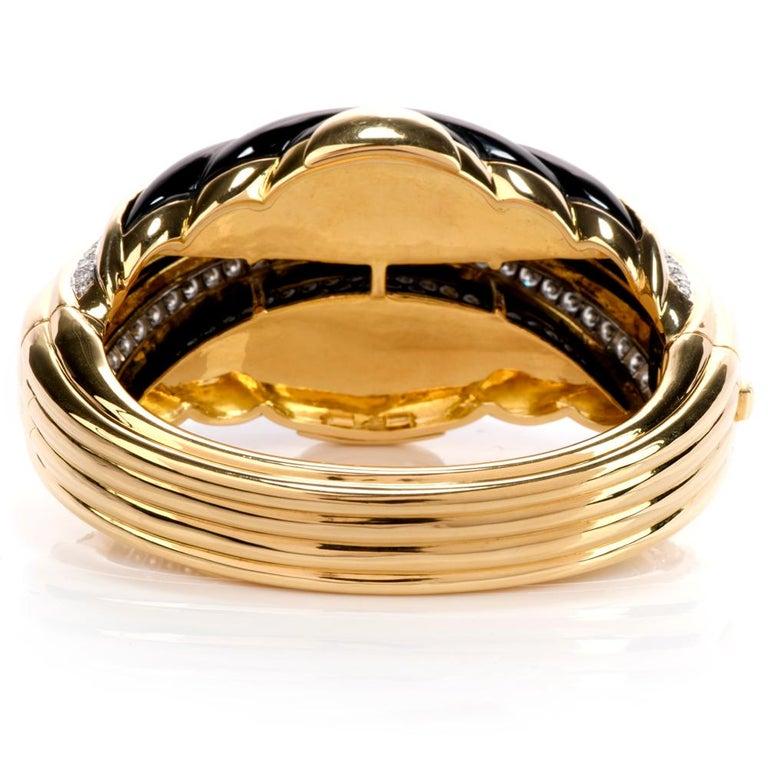 Modern 1980s Diamond Onyx 18 Karat Gold Large Wide Bangle Bracelet For Sale