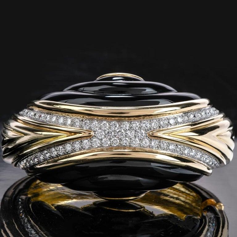 Women's or Men's 1980s Diamond Onyx 18 Karat Gold Large Wide Bangle Bracelet For Sale