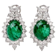 1980s Diamond Oval Cabochon GIA Emerald Clip-On Gold Earrings