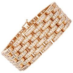 1980s Diamond Panthere 18 Karat Yellow Gold Wide Bracelet
