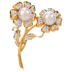 1980s Diamond Pearl 18 Karat Gold Double Flower Pin Brooch