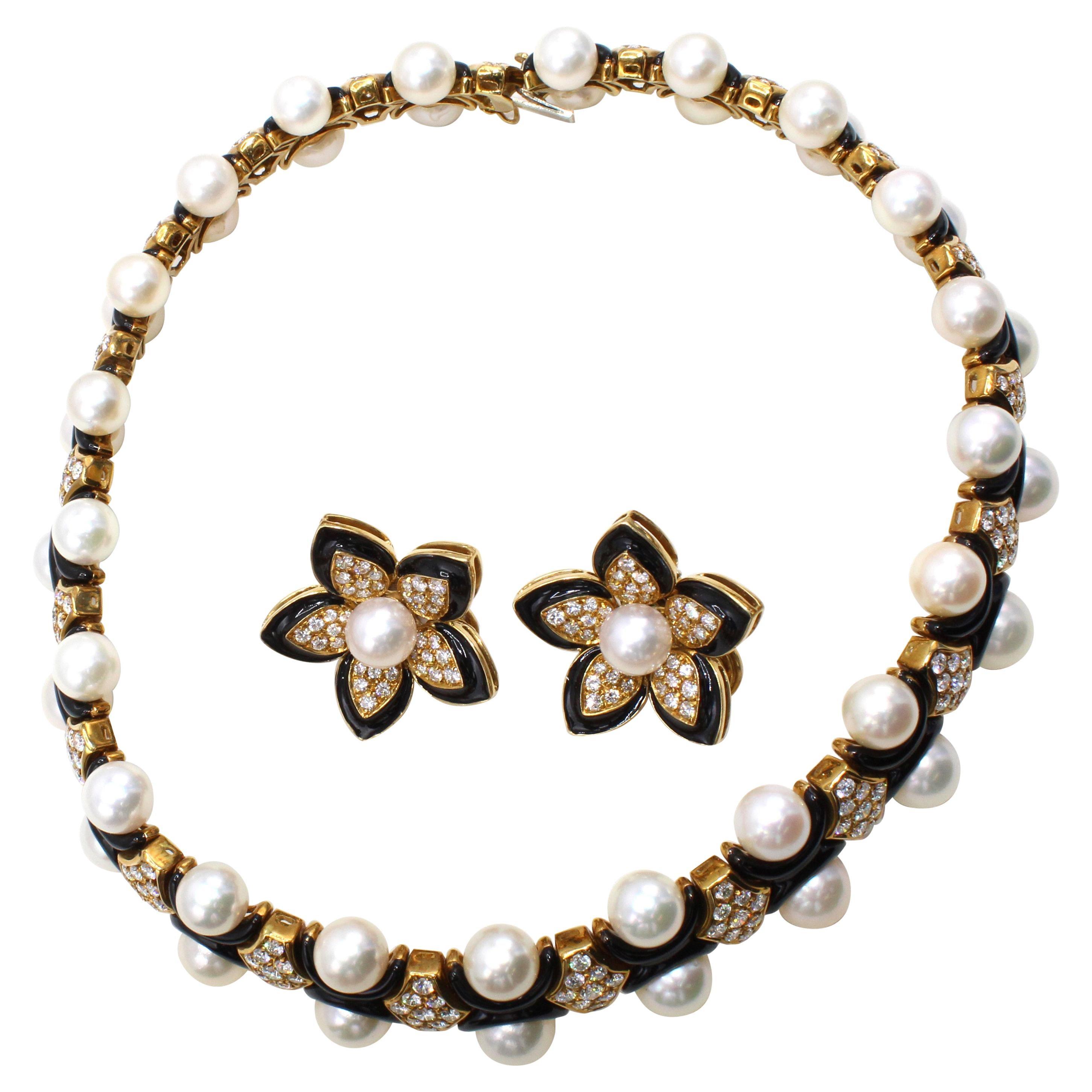 1980s Diamond Pearl Enamel 18 Karat Gold Choker Necklace Earring Set