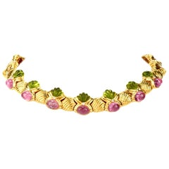 1980s Diamond Peridot and Tourmaline 18 Karat Gold Collar Necklace