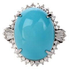 1980s Diamond Persian Turquoise Platinum Oval Halo Ring