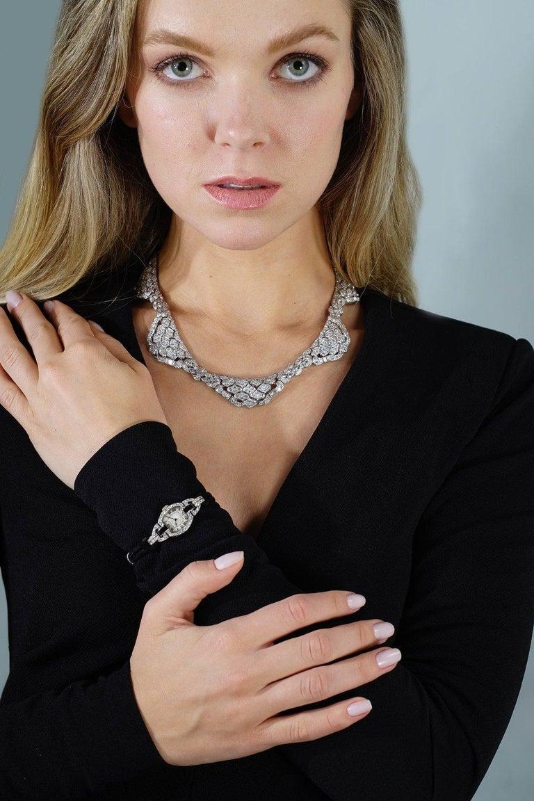 Women's 1980s Diamond Platinum Bandeau Tiara convertible Necklace For Sale
