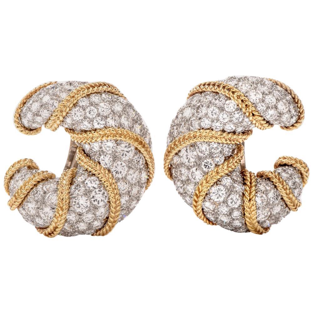 1980s Diamond Platinum Gold Clip-Back Half Hoop Shrimp Earrings