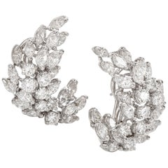 1980s Diamond Platinum Marquise Round Cluster Clip Back Earrings