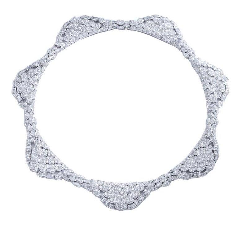 1980s Diamond Platinum Bandeau Tiara convertible Necklace For Sale