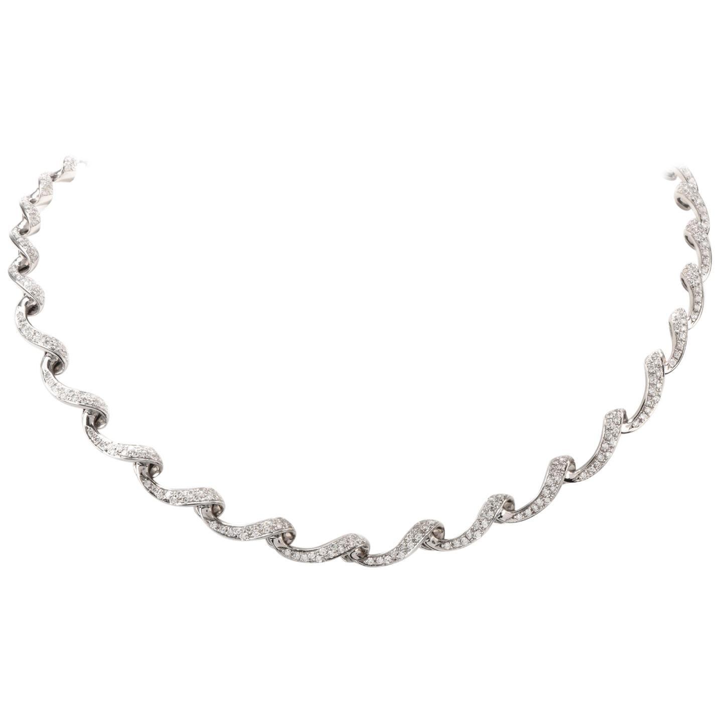 1980s Diamond Ribbon Rivera Checker Gold Tennis Necklace