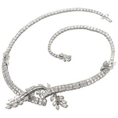 1980s Diamond Riviera Bypass Floral Leaf Platinum Necklace