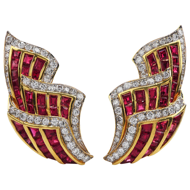 1980s Diamond Ruby 18 Karat Gold Ear-Cuff Clip-On Earrings