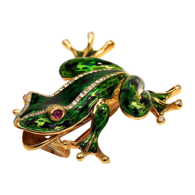 1980's Diamond Ruby 18k Gold Green Enamel Frog Brooch Pin