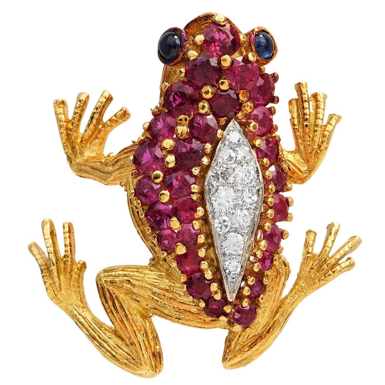 1980's Hammerman Brothers Diamond Ruby 18K Gold Frog Brooch Pin