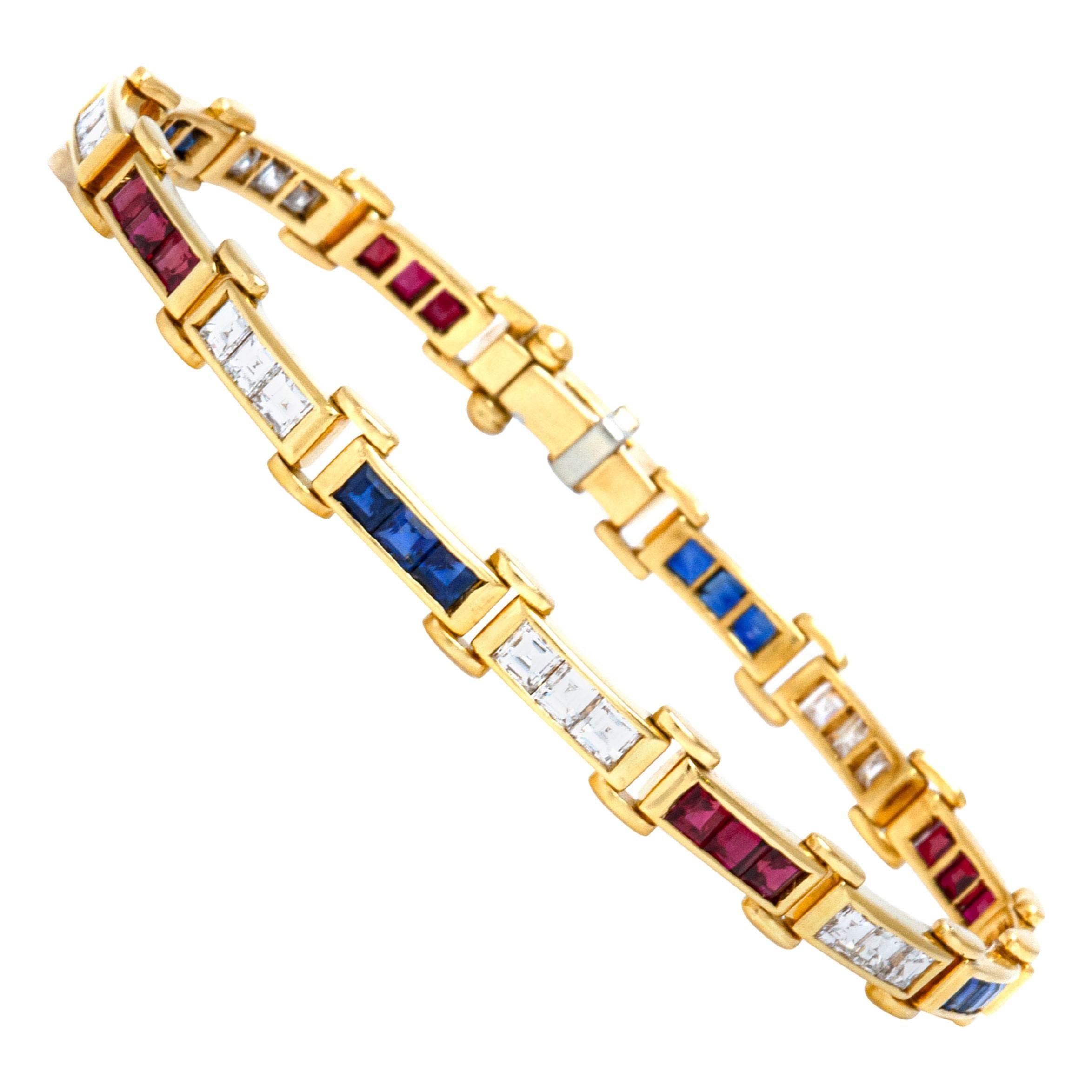 1980s Diamond Ruby Sapphire Bracelet