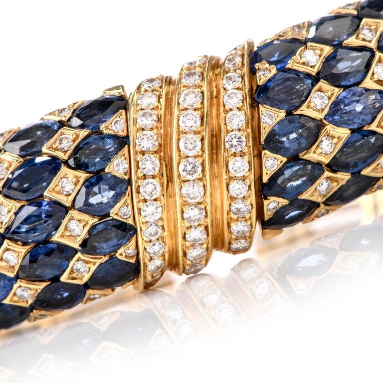 Round Cut 1980s Diamond Sapphire 18 Karat Yellow Gold Cuff Bracelet For Sale
