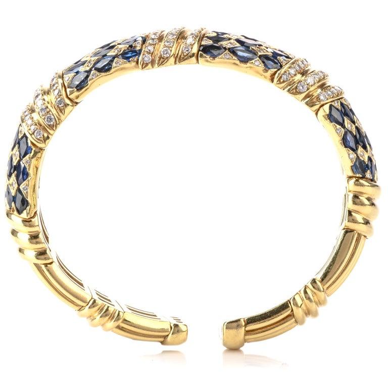 Women's or Men's 1980s Diamond Sapphire 18 Karat Yellow Gold Cuff Bracelet For Sale