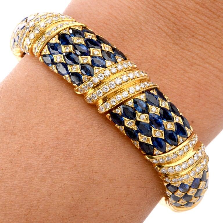 1980s Diamond Sapphire 18 Karat Yellow Gold Cuff Bracelet For Sale 1