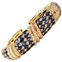 1980s Diamond Sapphire 18 Karat Yellow Gold Cuff Bracelet