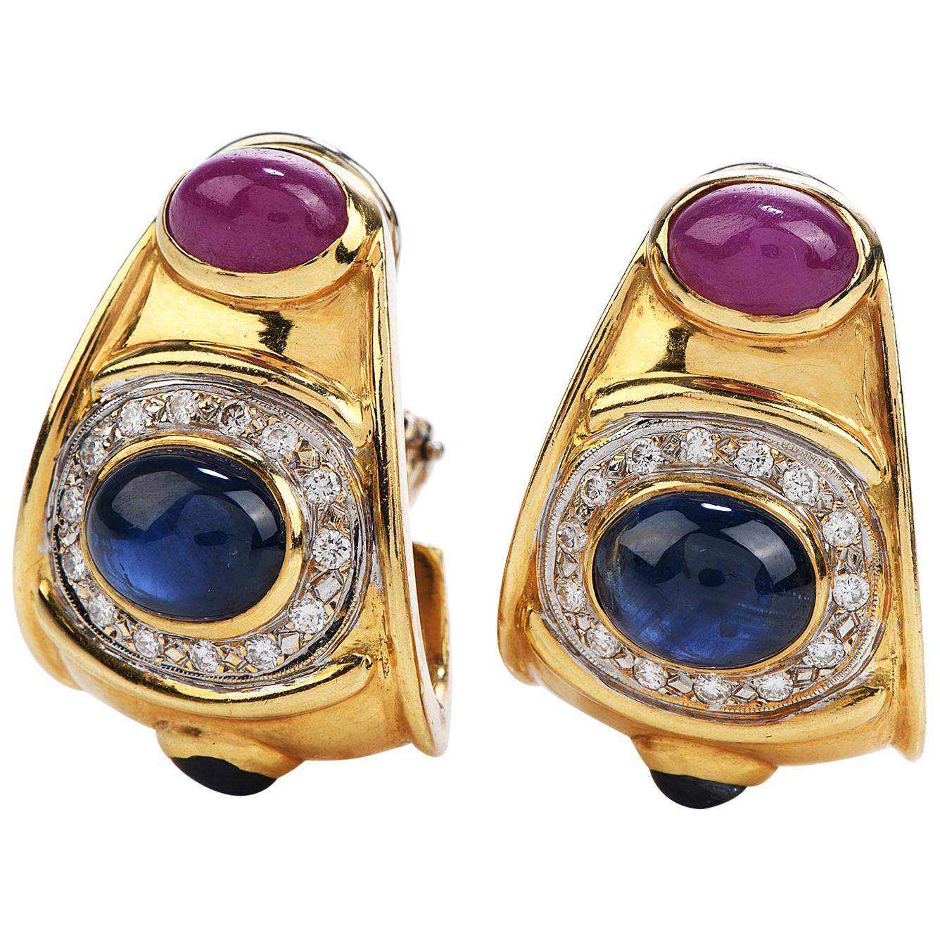 1980s Diamond Sapphire Ruby 18 Karat Gold 1980s Clip-On Earrings