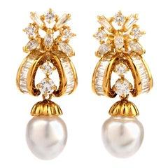 1980s Diamond South Sea Pearl 18 Karat Yellow Gold Drop Earrings