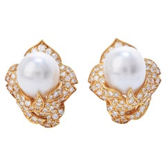 1980's Diamond South Sea Pearl 18K Gold Cluster Floral Clip On Earrings