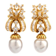 1980s Diamond South Sea Pearl 18 Karat Yellow Gold Drop Earrings