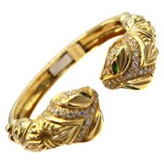 1980s Diamond Tsavorite Garnet Snake Head Bangle