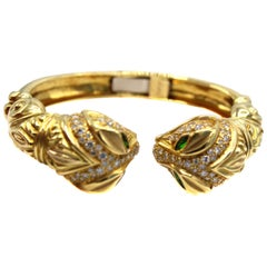 1980s Diamond Tsavorite Garnet Snake Head Bangle