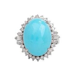 1980's Diamond Turquoise Platinum Oval Halo Ring