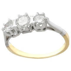 1980s Diamond Yellow Gold Platinum Set Three-Stone Ring