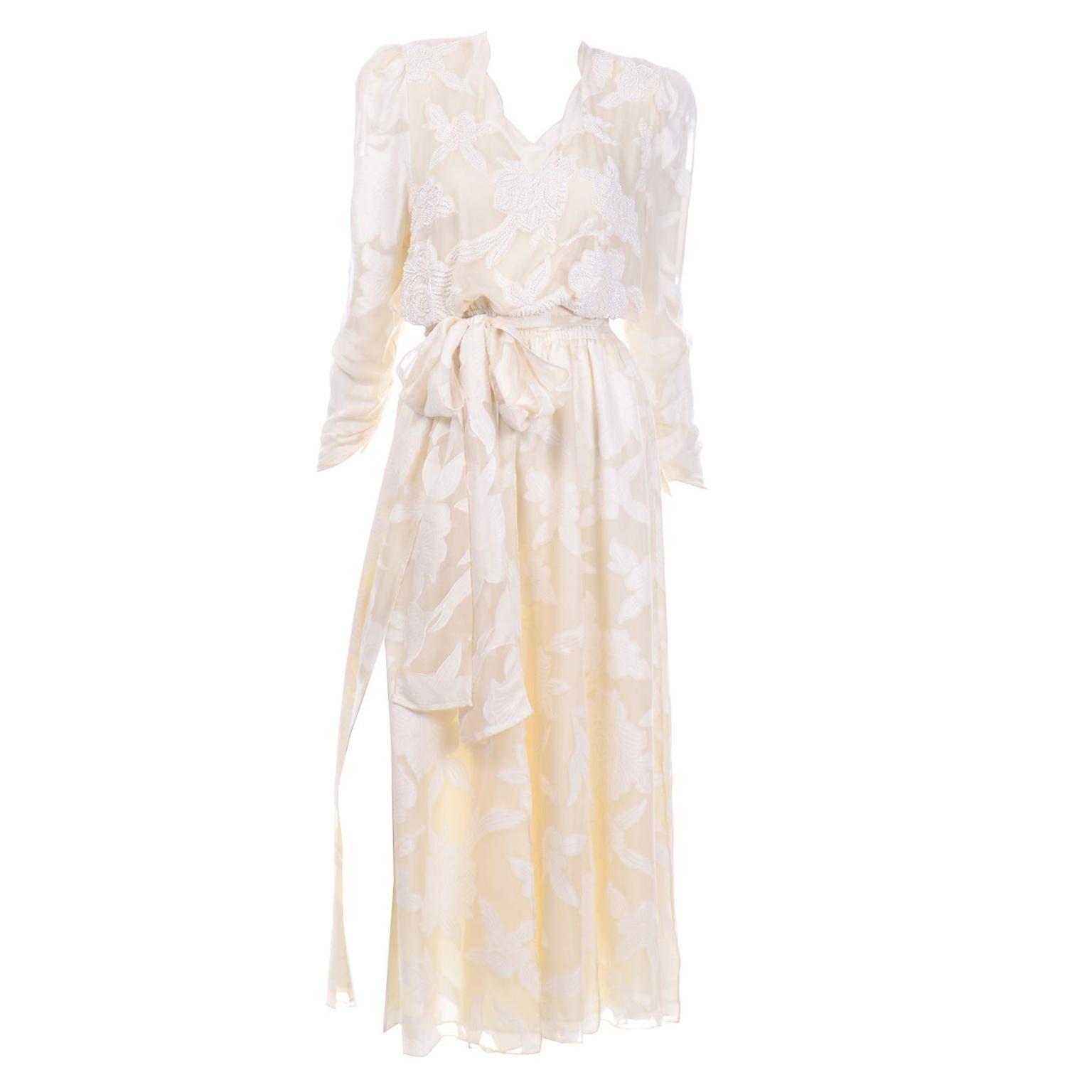 1980s Diane Freis Beaded Ivory Silk Floral Vintage Dress W Sash or Scarf