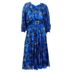 1980s Diane Freis Blue Silk Vintage Dress With Belt