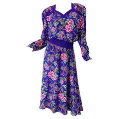 1980s Diane Freis Purple Regal Flowers and Jewels Printed Long Sleeve 80s Dress