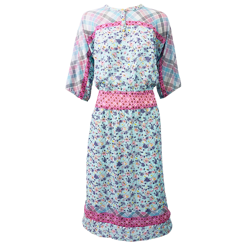 1980s Diane Freis Silk Blue + Pink Flowers and Plaid Stripes Vintage 80s Dress