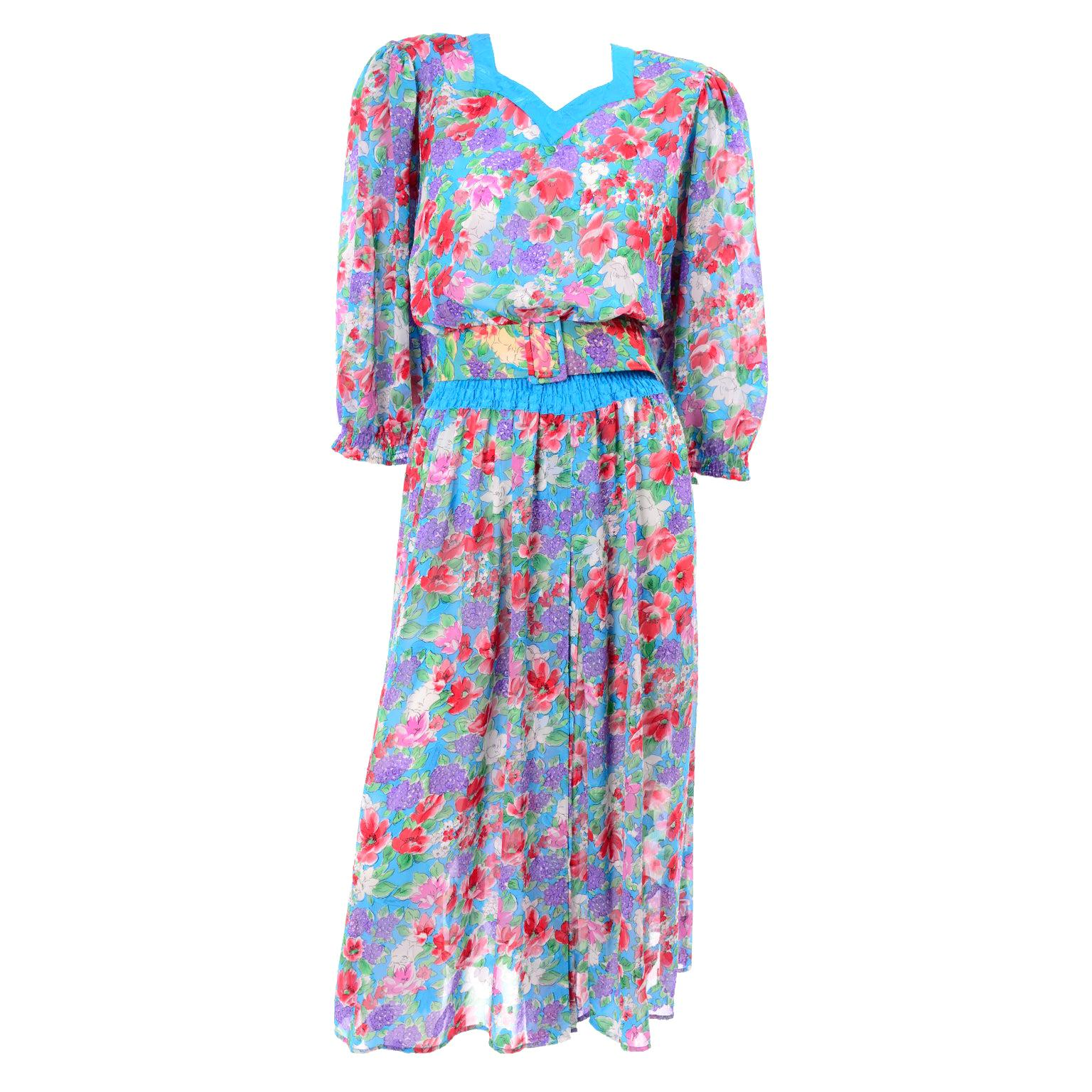 1980s Diane Freis Turquoise Purple Red Pink & Green Floral Print Dress With Belt