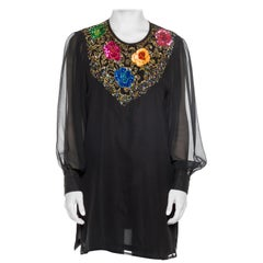 1980S DIANE FREIS Black Beaded Silk Chiffon Cocktail Tunic Blouse With Sheer Sl