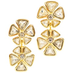 1980s Dior Floral Rhinestone Vermeil Earrings with 14k Post