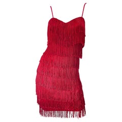 1980s Does 1920 Lipstick Red Fully Fringed Size 6 Jersey Vintage 80s Mini Dress