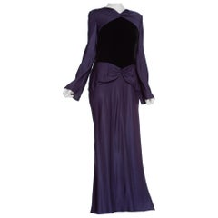 1980's Does 1930's Bill Blass Bias Silk & Velvet Gown With Sleeves, Silk Lined