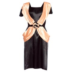 1980's Does 1940's Black & Peach Satin Dress From Paris
